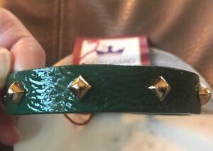 BAEKGAARD VERA BRADLEY Cuff Bracelet ENVIOUS GREEN Gold Studded, New With Tags