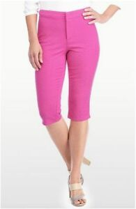 NYDJ Kaelin Skimmer Jacquard Cactus Flower Pink Slimming Crop Pants 8P 8 Petite