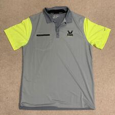 Nike Golf Mens Polo Golf Shirt Dri-Fit Size Large White/Gray Standard Fit