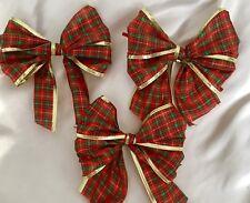 10 x tartan rosso con oro metallizzato cablata bordo Albero di Natale fiocchi fiocchi, Regalo