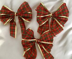10 X Red Tartan with gold Foil wired edge Christmas Tree Bows,Gift bows