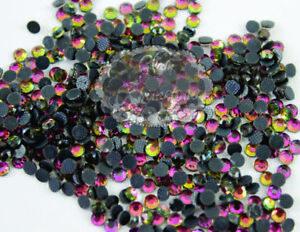 1440pcs HotFix Rhinestone Iron-On Beads Charm Flatback Colorful Rainbow SS6 2mm
