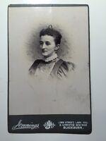 Large Victorian Cabinet Card Photograph (CDV) Photo - Jennings - Blackburn Lady