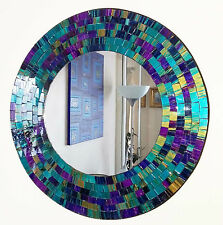 Round purple teal mosaic wall mirror 40cm-hand made in Bali-NEW
