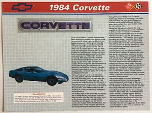 1984 CHEVROLET CORVETTE Willabee & Ward OFFICIAL PATCH COLLECTION ~ INFO CARD