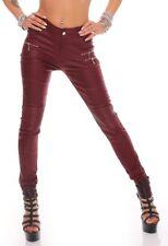 10782 Damen Röhrenhose Slimline Leder-Look Lederimitat Damenhose Wetlook Hose