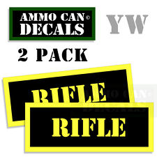 RIFLE Ammo Can Box Decal Sticker bullet ARMY Gun safety Hunting Labels 2 pack YW