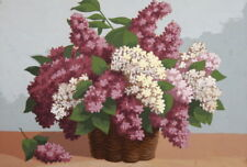 Vintage gouache painting still life with lilac