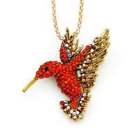 Betsey Johnson Cute Crystal Hummingbird Pendant Chain Animal Necklace/Brooch Pin