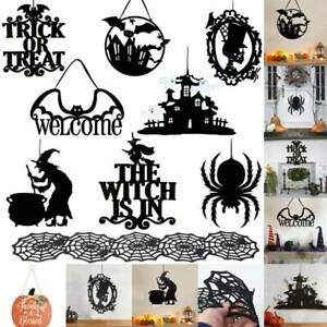 Hanging Signs Trick or Treat Bat Witch Door Wall Decors Parties Halloween Props