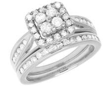 Real 10K White Gold Genuine Diamond Square Halo Engagement Bridal Ring Set 1 Ct