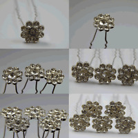Clear Crystal Flower Flower Wedding Bridal Hair Pins 1, 3 or 5 Pieces