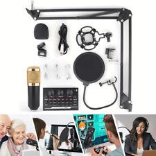 BM-800 Bluetooth Condenser Microphone Kit V8 II Sound Card Broadcast Arm Stand