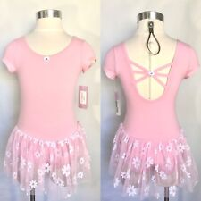 Basic Moves Girls Short Sleeved Flower Skirted Leotard Tutu Dress, Pink, NWT