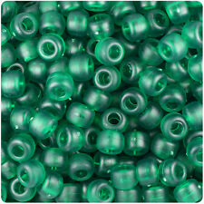 500 Emerald Green Frosted 9x6mm Barrel Plastic Pony Beads Made in the USA