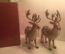 Rare 2001 Fitz & Floyd Christmas Lodge 2 Deer Candle Holders In Box 19/1359