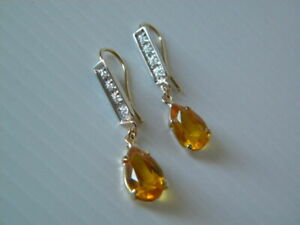 Drop Gold Topaz, Diamond and 18kt Solid Yellow & White Gold Earrings 4.23 TCW