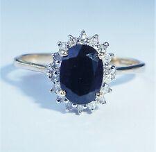 9ct Gold Sapphire & Diamond Halo Ring, Size P, Diana Style