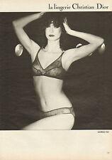 Publicité 1980  Lingerie Christian Dior soutien gorge 922 sous vetement slip
