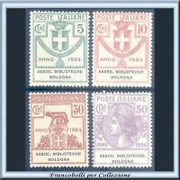 Italia Regno 1924 Enti Semistatali ASSOC. BIBLIOTECHE BOLOGNA n.1/4 Parastatali