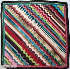 NWOT Authentic MISSONI ORANGE LABEL Striped Pattern 100% Silk Scarf Foulard
