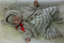 KNITTING PATTERN TO MAKE *WALLACE* 3PIECE TEDDY SET FOR BABY OR REBORN DOLL