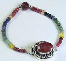 85 Cts XCLUSIVE NATURAL RUBY SAPPHIRE EMERALD BEAD BRACELET W/ STONE CLASP