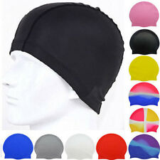 3pc Adult Waterproof Flexible Swimming Caps Hat Multi Color Random Shipment