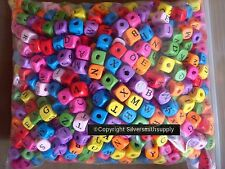 Wooden alphabet beads 1190 piece lots mixed colors great lrg holes 10x10 WB014