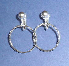 SILVERY HAMMERED HOOPS CLIP ON EARRINGS (or hooks)