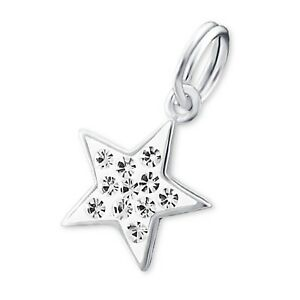 Silvadore STAR White CZ 925 Sterling Silver Split Ring Charm Bracelet Box 064
