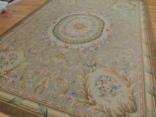 French 9x12 Savonnerie Aubusson Design Oriental Rug Beige Gold Blue/Gray