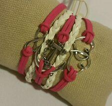 Retro Fashion Leather Bracelet Cute Infinity Charm Bracelet Jewelry Silver US