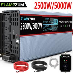 DC 24V To AC 120V Solar Power Inverter Pure Sine Wave 2500W 5000W LCD+Remote Car