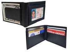 Black MEN'S LEATHER MAGNETIC MONEY CLIP Front Pocket Bifold ID Card Wallet