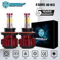 4-Sides H13 9008 360° LED Headlight Kit Bulbs 2500W 375000LM High Low Beam 6000K