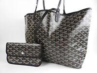 Unused GOYARD Saint Louis PM Shoulder Tote Bag PVC Canvas Leather Black V-1419