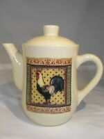 "Small Rooster Decorated Teapot/6 1/2""H x 7""(spout to end of Handle) x 4"" at  Top"