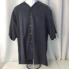 Tommy Bahama Black Silk Hawaiian Aloha Camp Shirt Button Down Size Large