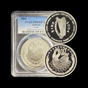 2004 Ireland 10 Euro (Silver) - PCGS PR66 DCAM - Celtic Swan