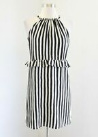 Ann Taylor Loft Black Off White Striped Ruffle Sleeveless Dress Size 0P Casual