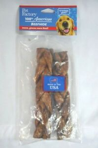 Braided Hide Dog Treats Beef Flavor 100% Made in USA Lot of 2 Pet Factory Sealed