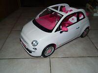 Fiat 500 Cabrio weiß - innen pink - edles Auto mit Chrom - Barbie - mit Puppen