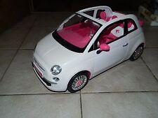 Fiat 500 Cabriolet blanc-intérieur Pink-Noble Voiture Avec Chrome-Barbie-avec des poupées