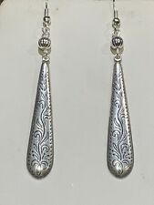 New Item* Hand-Crafted Vintage Large Engraved Silver Taper Drop Earrings-New