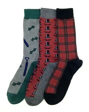 $34 Club Room New Men'S 3 Pair Pack Casual Dress Crew Socks Gray Red Shoe 7-12