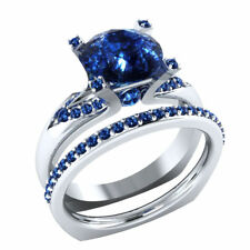 2.75ct Wow Wedding / Engagement Blue Round Cut Sapphire 925 Silver Ring Set