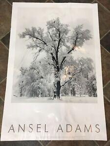 Vintage Ansel Adams Oak Tree Yosemite Authorized Art Poster Winter CA 1997