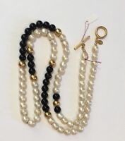 """Vintage 1970s Dell'Olio Faux Pearl Black Bead Necklace 37"""""""