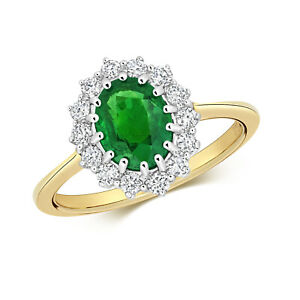 9ct Yellow Gold 1.60Ct Oval Emerald and Diamond Cluster Ring. Sizes J to Q (280)